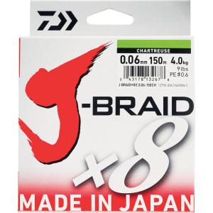 Tresse Daiwa J-Braid X 8 Vert 300m