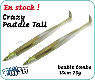 en stock, le leurre souple Fiiish Crazy Paddle Tail